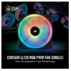 CORSAIR CASING FAN LL120 RGB 120mm Dual Light Loop RGB LED PWM Fan-Single Pack # CO-9050071-WW